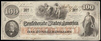 "Confederate States of America, ""Galveston"" Cr.T-41/316 $100 X, Dec 15, 1862 AU"