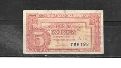 CZECHOSLOVAKIA #68a 1949 VG CIRC OLD 5 KORUN BANKNOTE PAPER MONEY CURRENCY NOTE