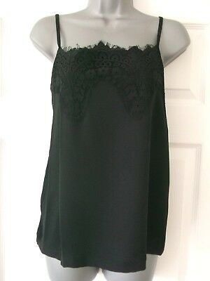 Ex M&S Ladies Black Camisole,Lacy Vest,Cami Top.8 10,12,14,16,18,20,22 24. P/P 3