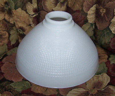 "Vintage 10"" White Milk Glass Waffle Pattern Floor Torchiere Lamp Shade Diffuser"