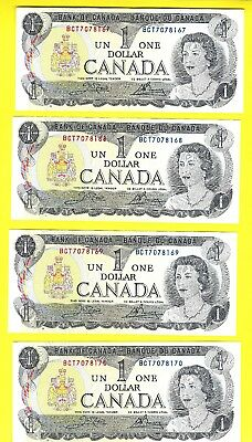 SET of 4 CONSECUTIVE PRISTINE UNCIRCULATED 1973 ONE DOLLAR CANADIAN BANKNOTES !!
