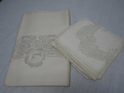"""VINTAGE IVORY DAMASK TABLECLOTH 56"""" x 72"""" w PRETTY ROSES & 8 NAPKINS ~ NOT USED"""