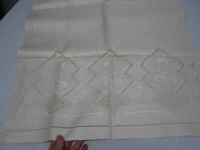 """ANTIQUE PURE LINEN BATH TOWEL with CUTWORK & TULIPS 23"""" X 42"""" NOT USED"""