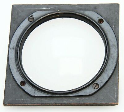 """3 1/4"""" wooden lens board with attached 62.4mm threaded metal ring 369708"""