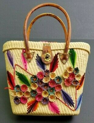 Vintage Straw Tote Bag Summer Purse Leather Handles Floral Yarn Accents