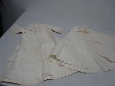 ANTIQUE VICTORIAN HEAVY COTTON CHRISTENING BAPTISM GOWN with CAPE COVER