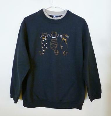 Beautiful Black Sweatshirt With Gold Outlined Cats On Front.  Ladies Size Large.
