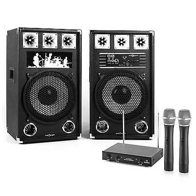 Set Karaoke Eventi Casse Altoparlanti Subwoofer 800W Radiomicrofoni Wireless