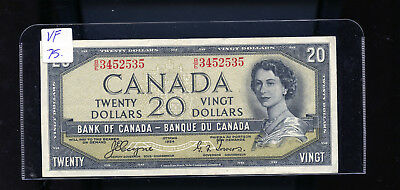 1954 Bank of Canada $20 Devil's Face Coyne Towers VF. BL4209