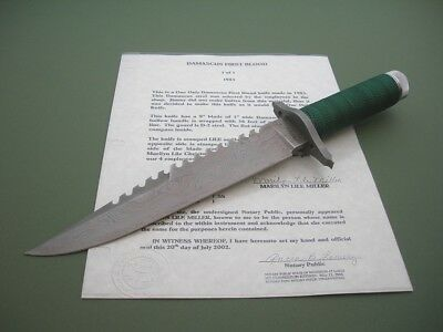 JIMMY LILE FIRST BLOOD KNIFE / 1 of 1 with DAMASCUS BLADE / BOOK KNIFE / C.O.A.
