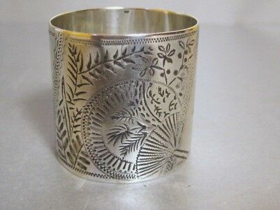 MAPPIN & WEBB Aesthetic Movement Antique 1885 Sterling Silver Napkin Ring