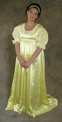 Light Yellow Regency Jane Austen Style 2 Piece Ball Gown Costume Small Cosplay