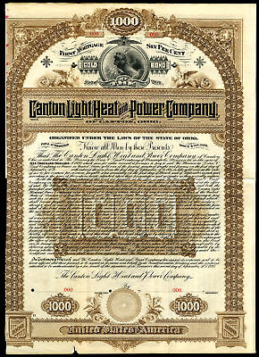 OH. Canton Light, Heat and Power Co 1895 Specimen $1000 6% Gold Coupon Bond HLBN