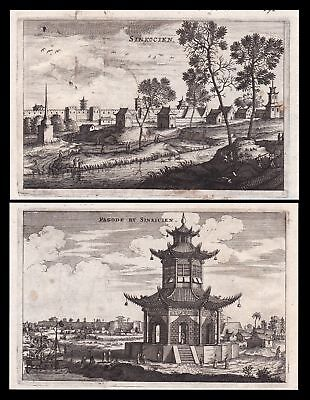 ca. 1670 China Stadt city Pagode Ansicht view Kupferstich antique print Nieuhof
