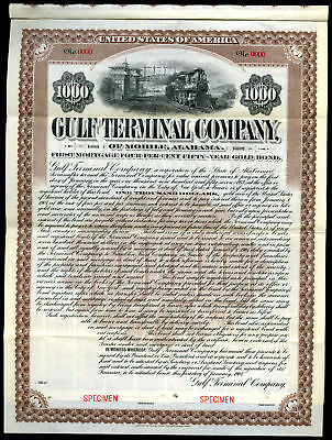 AL. Gulf Terminal Co. of Mobile Alabama, 1907 Specimen $1000 4% Gold Coupon Bond