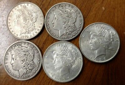 Lot of (5) Mixed Date Better Condition Morgan & Peace Dollars