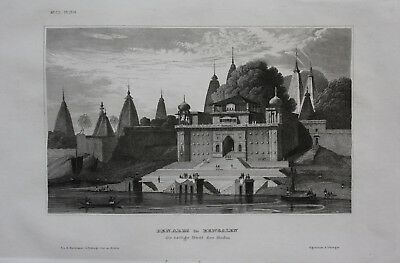 1840 - Varanasi India Temple Uttar Pradesh Bengal engraving antique print