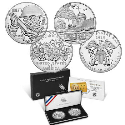World War I Centennial 2018 Silver Dollar and Navy Medal Set