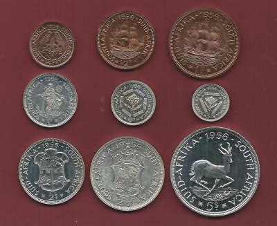 SOUTH AFRICA - 1956 9pc PROOF set - SIX silver - NO box - spotty toning
