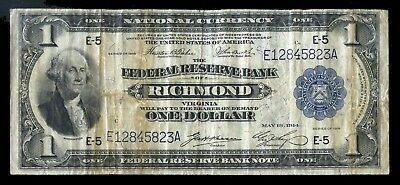 1914 $1 Federal Reserve Note  FR721 - Circulated Large Size One Dollar