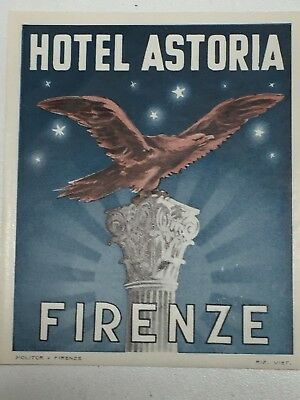 Vintage Hotel Astoria Firenze Florence Italy Luggage Label 23655