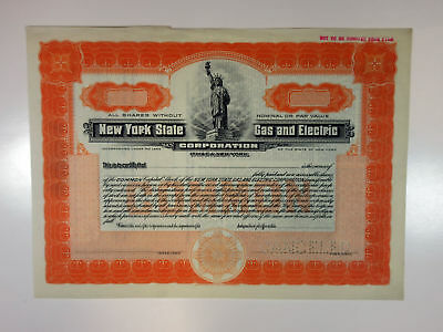 NY. New York State Gas & Electric Corp 1910-30 Specimen Stock Certificate XF SBN