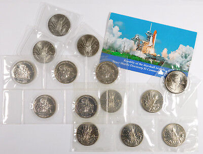 1988 - 1991 Marshall Islands Crown Sized Coin Lot - 14 Coins Total - Sealed