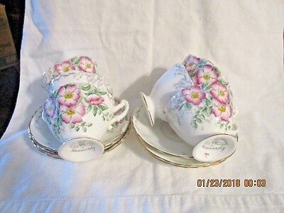 Hammersley ROSE OF ENGLAND 5 Cups & Saucers Marked 3808