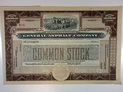 NJ. General Asphalt Co.1903 Specimen Stock Certificate <100 Shares SBN