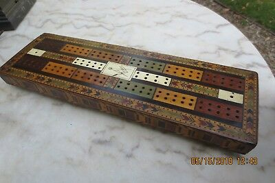Rare Early 1800's Georgian Cribbage Board Inlaid W/masonic Symbol In Center