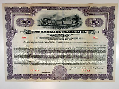OH, Wheeling & Lake Erie Railway Co 1917 Specimen Register 5% Bond $5000 Purple