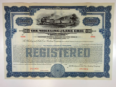OH, Wheeling & Lake Erie Railway Co 1917 Specimen Register 5% Bond $10,000 Blue