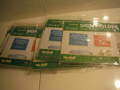 "New Nu-Dell 11"" x 8.5"" Acrylic Sign Holder/Lot of 7 Brand New In Package"