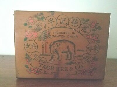 Antique Chinese Tack Kee & Co Wood  Tea Box. Great Graphics