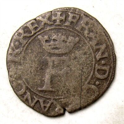 1515-1547 France Liard? Royal Coinage of Francois I - Crowned F - Medieval Coin
