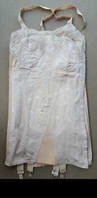 Support Corset Girdle,size 44,textured Peach,laces,clips& Garters,unused,vintage