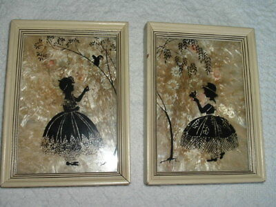 Vtg Concave Bubble Glass Silhouette Pictures Set of 2 Victorian Girls Milk Weed