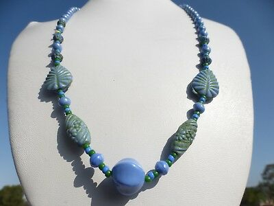 LOVELY Vintage ART DECO Blue Art Glass Beaded CZECH NECKLACE 24 INCHES