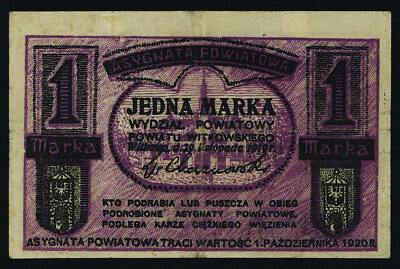 Poland WWI Private 1 Mark 1919 Local Scrip Note Asygnata Powiatowa
