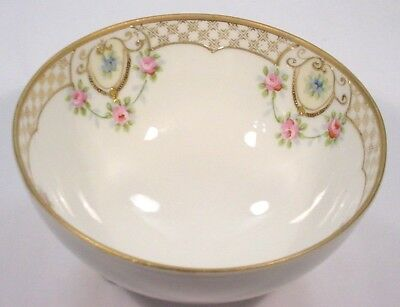 Vintage Beautiful Hand Painted Nippon Violets & Roses Footed Serving Bowl
