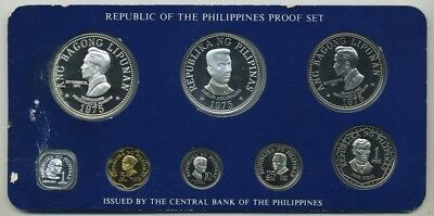 1975 Philippines 8 Coin Proof Set (1.2168 Ounces Troy Silver)(36,516 Mintage)