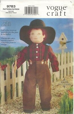 """Vogue 9783 18""""  Jeremiah  Doll, Clothes, Full Color Face Transfer Sewing Pattern"""