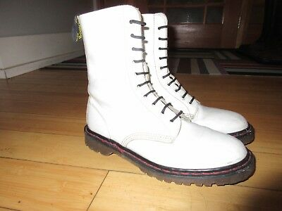 Vintage 1990's Dr. Martens white women's boots Made in England Air Wair Doc