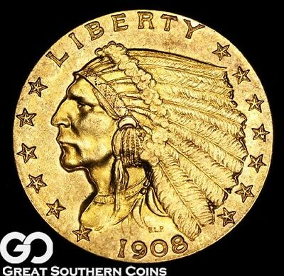 1908 Quarter Eagle, $2.5 Gold Indian, Choice BU++ First Year Issue ** Free S/H!