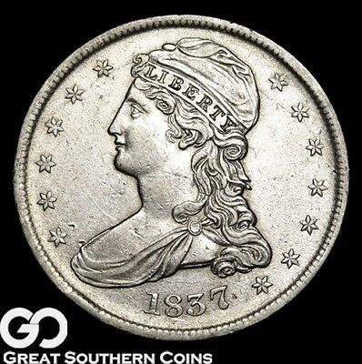 1837 Capped Bust Half Dollar, Reeded, AU+ Better Date ** Free Shipping!