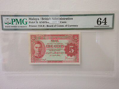 Board of Commissioners of Currency, Malaya, 1941 5 cents, P-7b KNB7b-d Banknote.