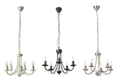 Argos Home Twirl 5 Light Twist Chandelier Black Chrome Ivory