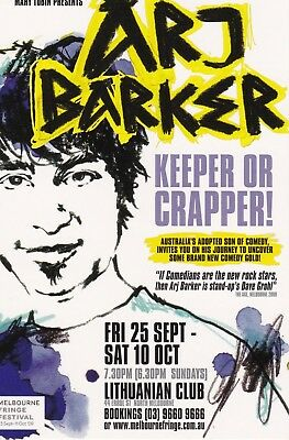 Arj Barker Keeper Or Crapper Australian Tour Promo Flyer Postcard 2009