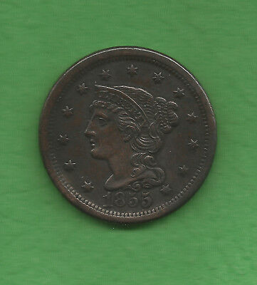 1855 Braided Hair, Large Cent, Upright 5's - 163 Years Old!!!