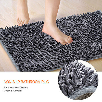 Microfibre Bath Mat Non Slip Rug Bathmat Toilet Shower Bathroom Shaggy Soft Anti